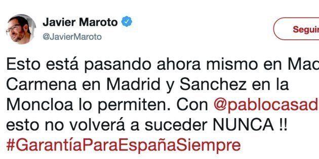 Tuit de Javier Maroto sobre la manifestación