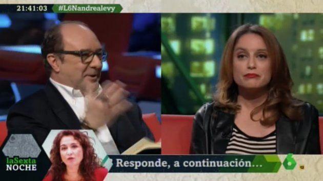 Jesús Maraña (Infolibre) y Andrea Levy, en 'LaSexta