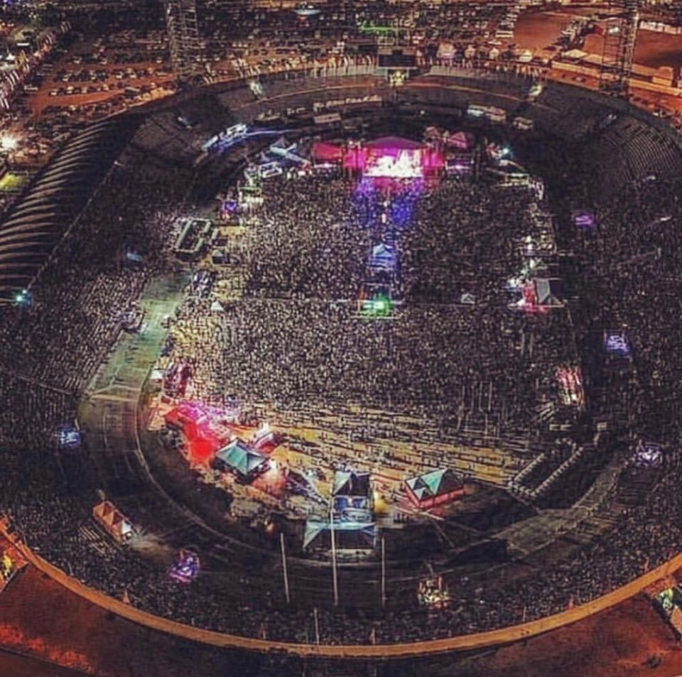 The packed National Stadium on the night of Banton's return to the