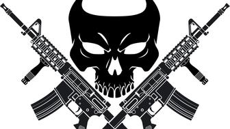 human skull with crossed assault rifles