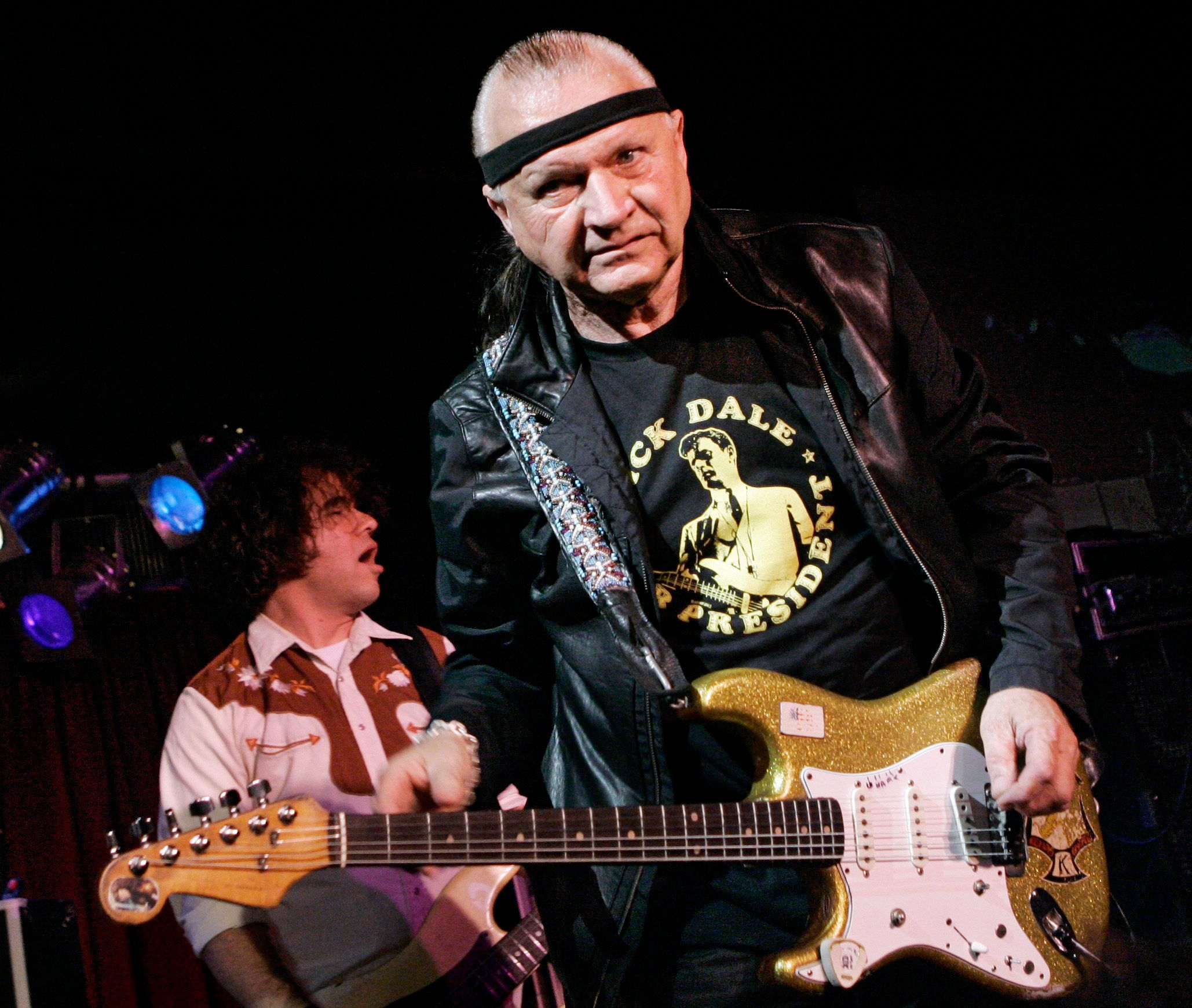 """FILE - In this May 27, 2007 file photo, Dick Dale, known as """"The King of the Surf Guitar,"""" performs at B.B. King Blues Club in New York. Dale has died at age 81. His former bassist Sam Bolle says Dale passed away Saturday night, March 16, 2019. No other details were available. (AP Photo/Richard Drew, File)"""