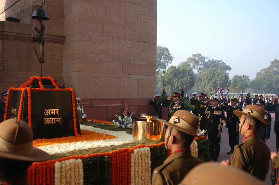 Jawans at the Amar Jawan Jyoti  on the occasion of the Indian Navy