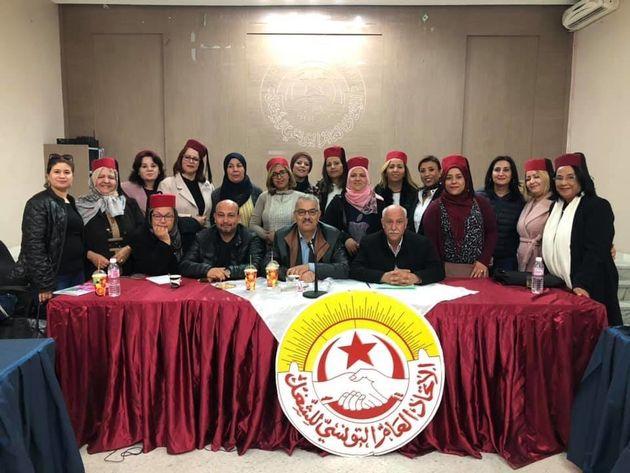 Des membre de l'Union Régionale du Travail de Tunis portant une