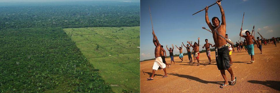 Links: Luftaufnahme der Entwaldung im westlichen Amazonasgebiet Brasiliens.Rechts: Mitglieder des Munduruku-Indianerstammes...