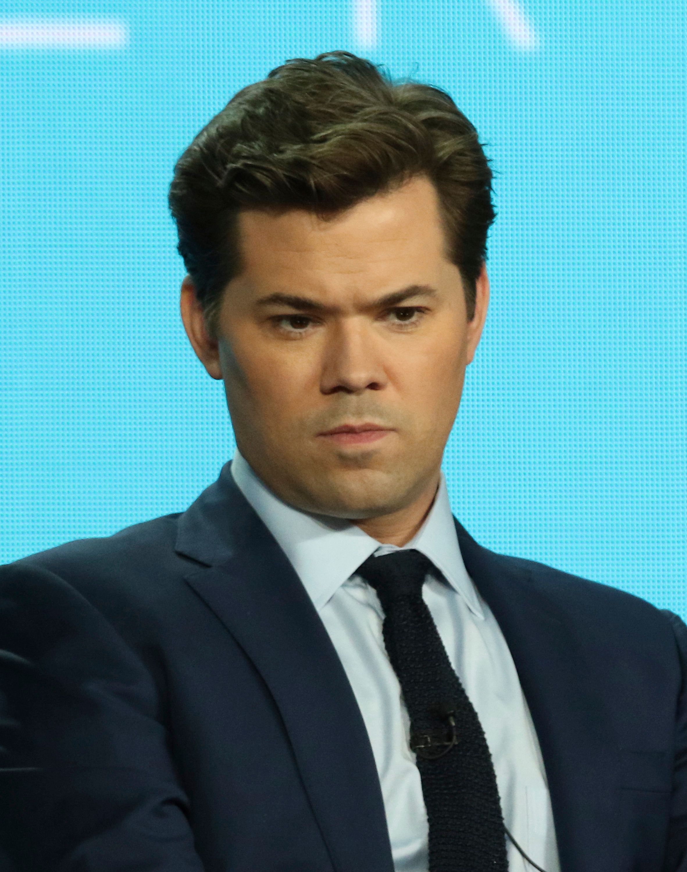 "Andrew Rannells speaks in the ""Black Monday"" panel during the Showtime TCA Winter Press Tour on Thursday, Jan. 31, 2019, in Pasadena, Calif. (Photo by Willy Sanjuan/Invision/AP)"