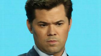 """Andrew Rannells speaks in the """"Black Monday"""" panel during the Showtime TCA Winter Press Tour on Thursday, Jan. 31, 2019, in Pasadena, Calif. (Photo by Willy Sanjuan/Invision/AP)"""