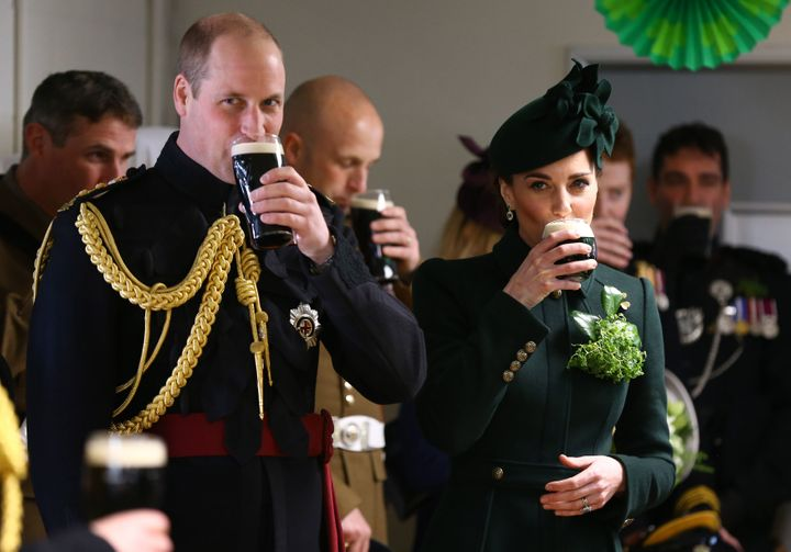 Wiliam, Duke of Cambridge and Catherine, Duchess of Cambridge meets with Irish Guards after attending the St Patrick's Day pa