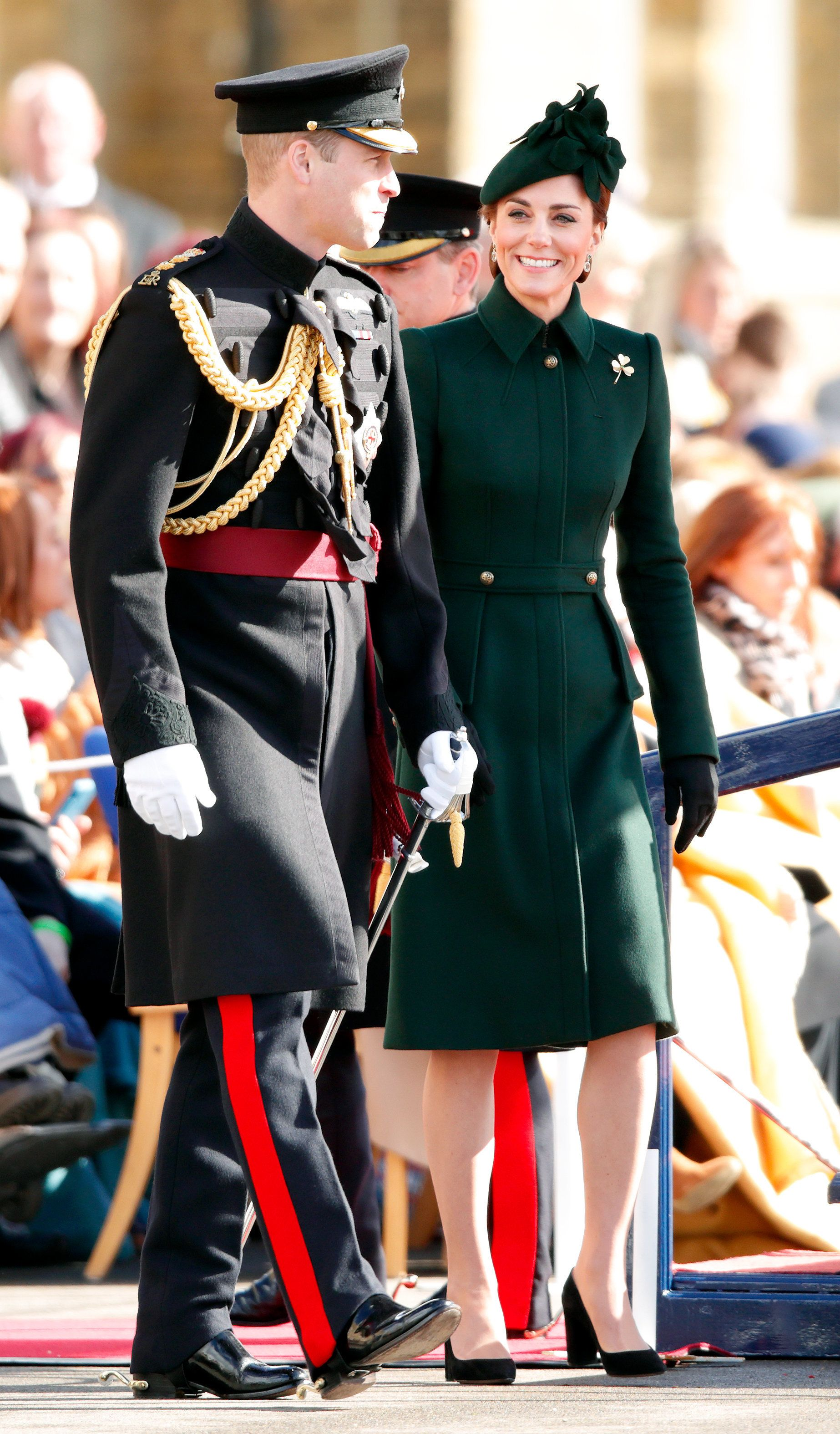 HOUNSLOW, UNITED KINGDOM - MARCH 17: (EMBARGOED FOR PUBLICATION IN UK NEWSPAPERS UNTIL 24 HOURS AFTER CREATE DATE AND TIME) Catherine, Duchess of Cambridge and Prince William, Duke of Cambridge (Colonel of the Irish Guards) attend the 1st Battalion Irish Guards St Patrick's Day Parade at Cavalry Barracks on March 17, 2019 in Hounslow, England. (Photo by Max Mumby/Indigo/Getty Images)