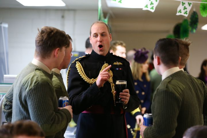 The Duke of Cambridge chatting after the parade.