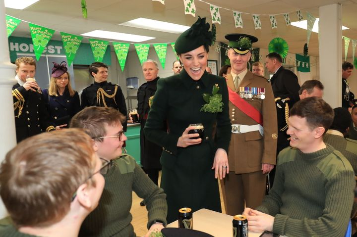 The Duchess of Cambridge also met with the Irish Guards.