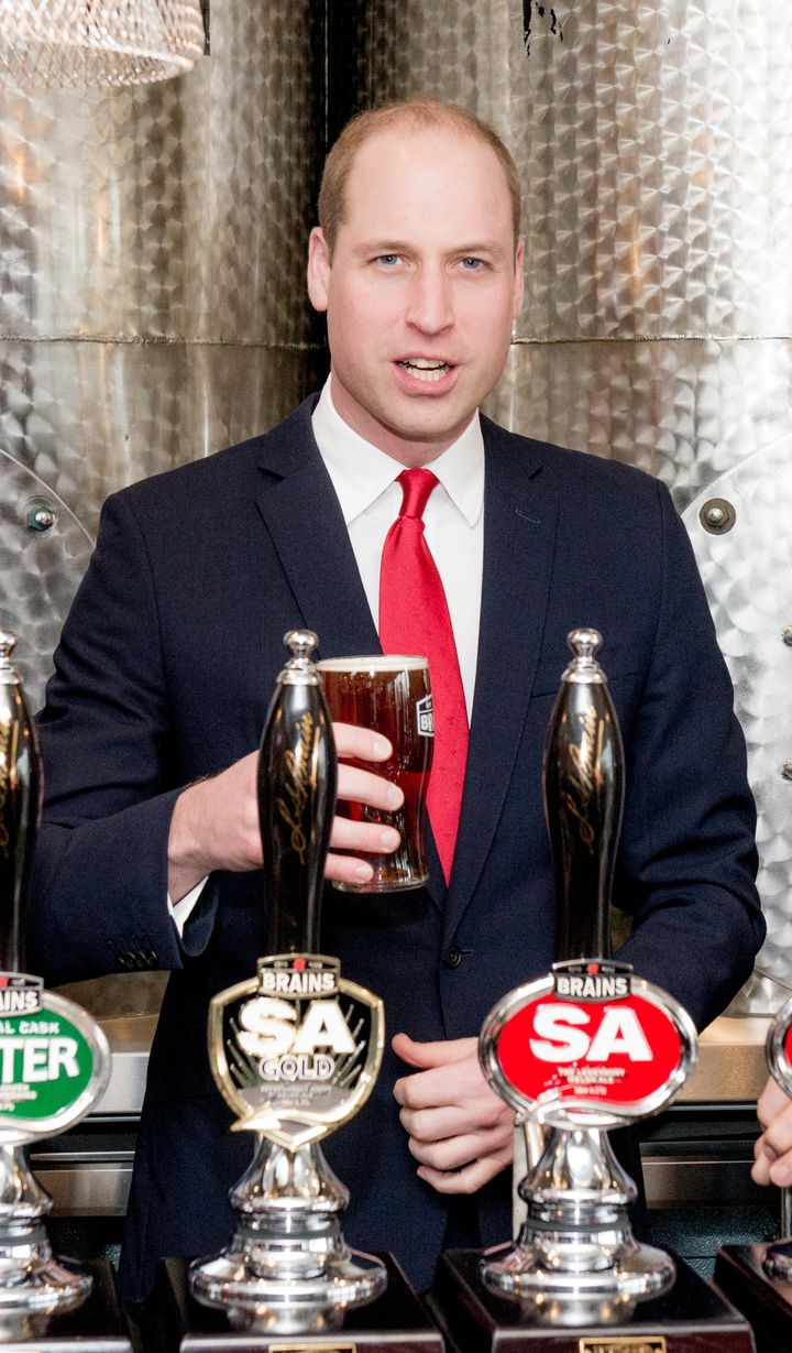 Prince William pulls a pint while officially opening Brains Brewery, before attending the Wales vs Ireland Six Nations Match