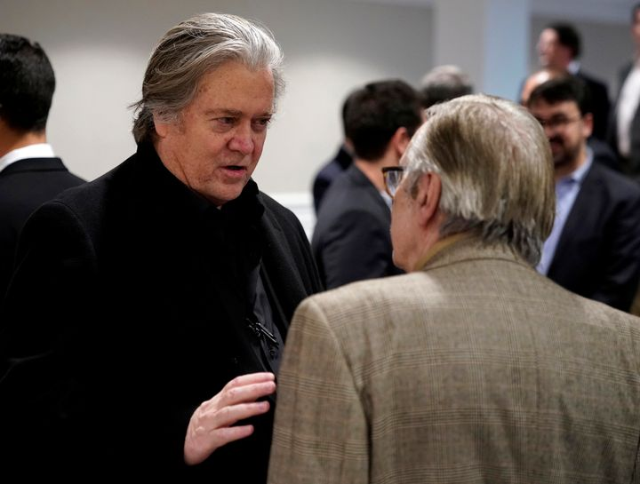 Former Trump aide Steve Bannon (left) talks with Olavo de Carvalho, the anti-globalist known as Brazilian President Jair Bols