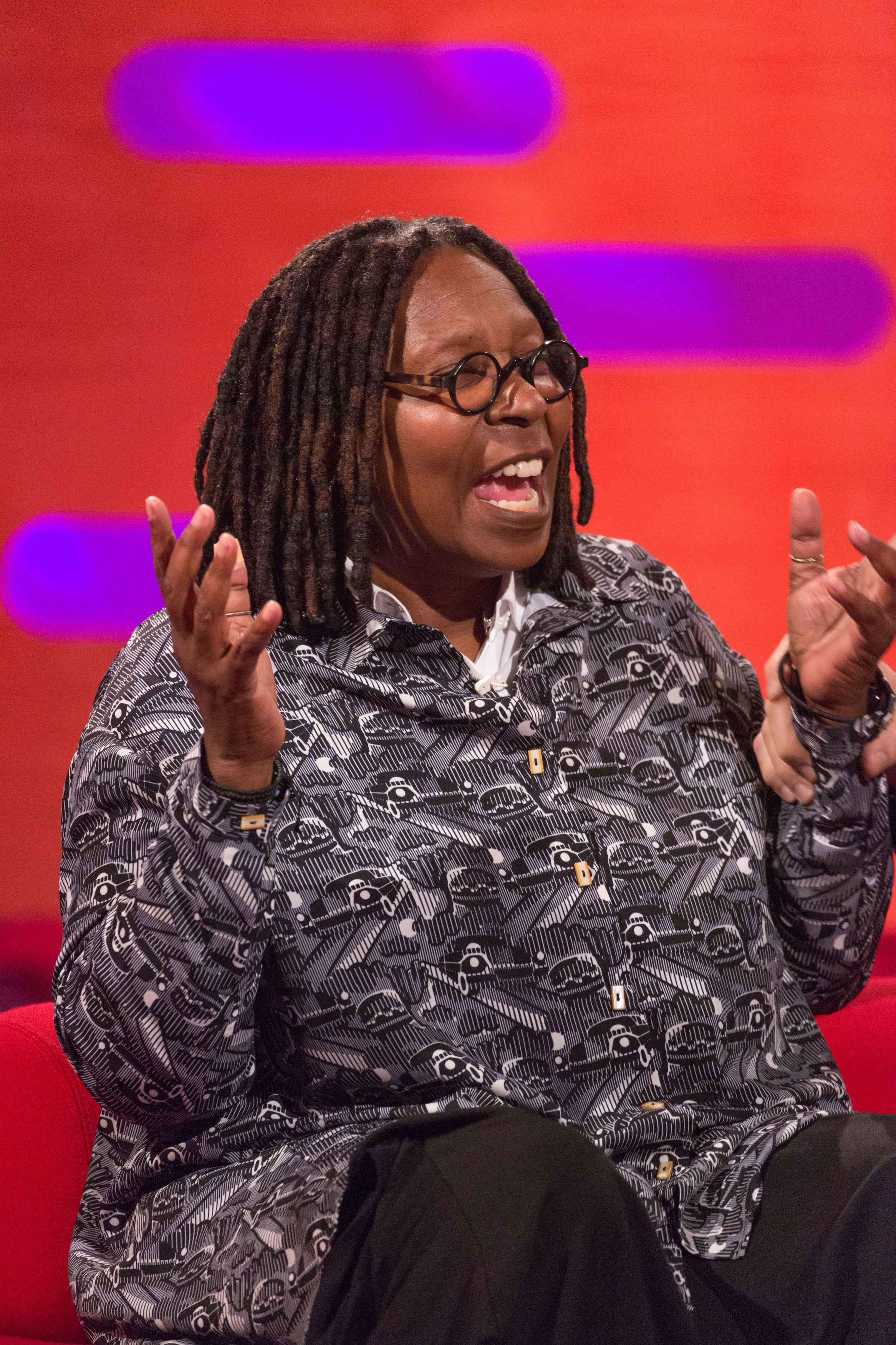 Whoopi Goldberg during the filming of the Graham Norton Show at BBC Studioworks 6 Television Centre, Wood Lane, London, to be aired on BBC One on Friday evening.