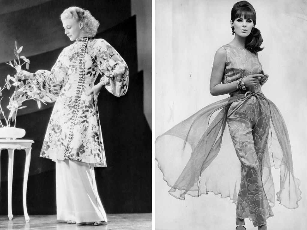 Left: Ginger Rogers wears hostess pajamas in the 1950s. Right: A model wears silk evening pajamas, circa 1965.