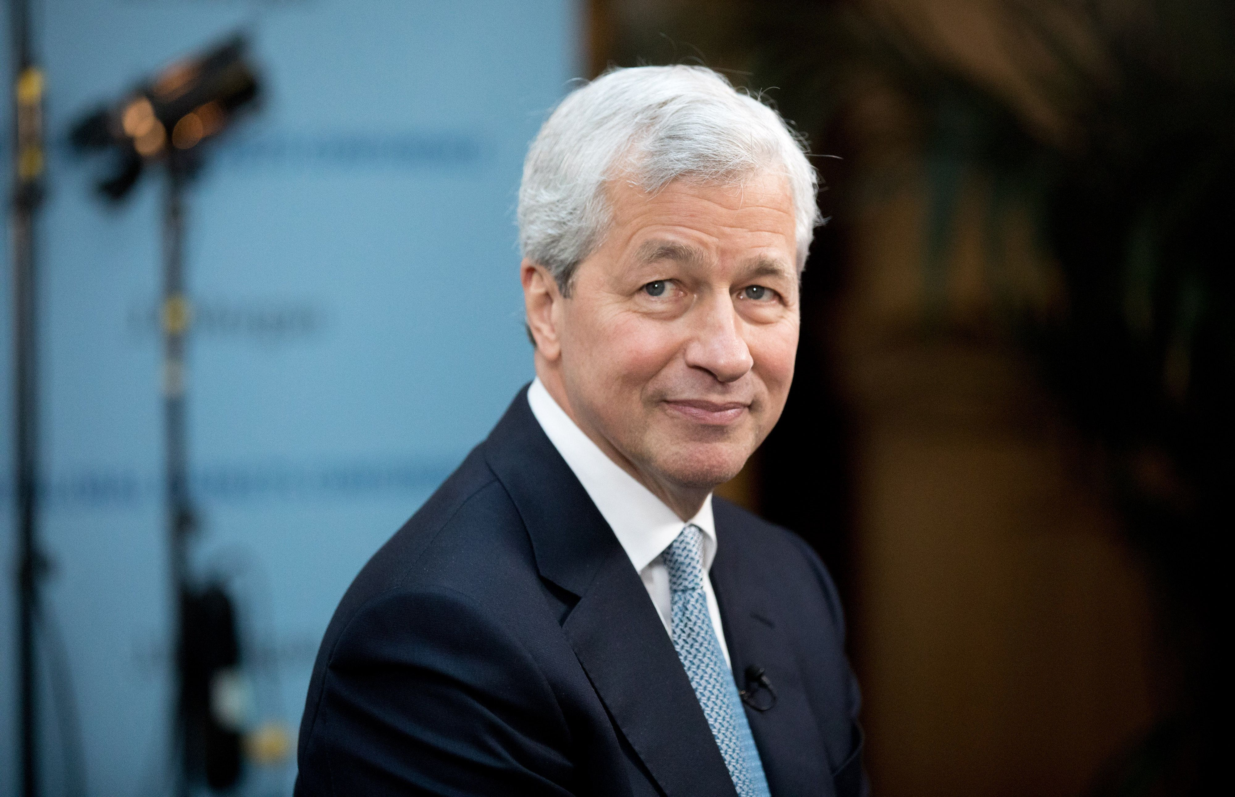 Jamie Dimon, chief executive officer of JPMorgan Chase & Co., pauses during a Bloomberg Television interview in Paris, France, on Thursday, March 9, 2017. Dimon said President Trumps economic agenda has ignited U.S. business and consumer confidence and he expects at least some of the administrations proposals to be enacted. Photographer: Christophe Morin/Bloomberg via Getty Images