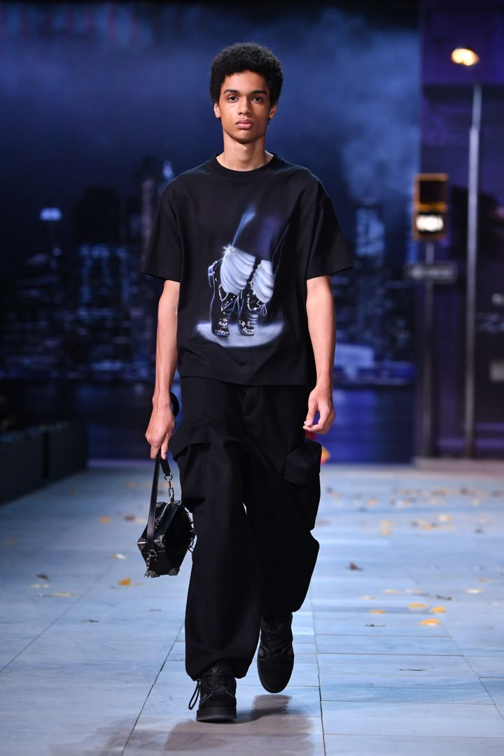 A model wearing a Jackson-inspired look in the Louis Vuitton show.
