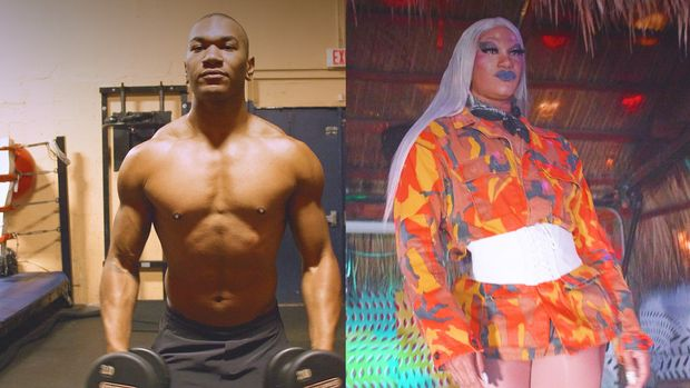 By day, Rock Evans is a bodybuilder and personal trainer. At night, they take on the persona of Miss Toto, the fierce, femme bodybuilding drag queen.