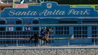 ARCADIA, CA, MARCH 08, 2019 --- Riders on training track on Friday, March 08, 2019, morning at Santa Anita Race Track in Arcadia.  The track, was shut down for training and racing since last Tuesday after reported 21 horse fatalities since late December. (Photo by Irfan Khan/Los Angeles Times via Getty Images)