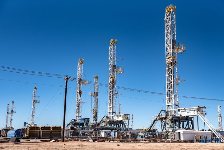 Oil rigs in the Permian Basin area of Odessa, Texas. Exxon Mobil plans to double its production in the Permian Basin to