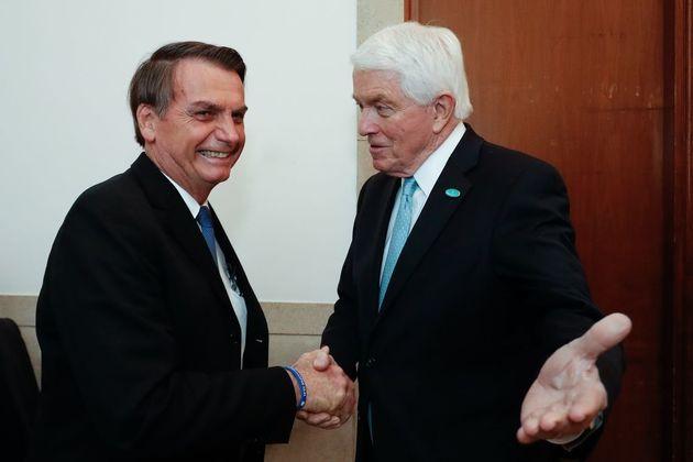 Jair Bolsonaro é recebido pelo CEO da Câmara de Comércio dos EUA, Tom J. Donohue,...