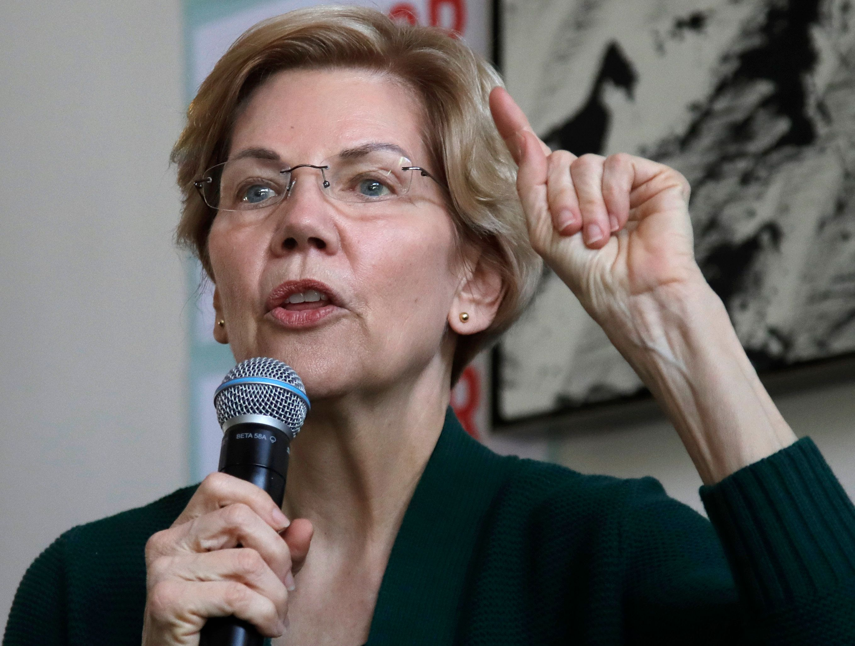 Democratic presidential candidate Sen. Elizabeth Warren, D-Mass., speaks at a campaign house party, Friday, March 15, 2019, in Salem, N.H. (AP Photo/Elise Amendola)