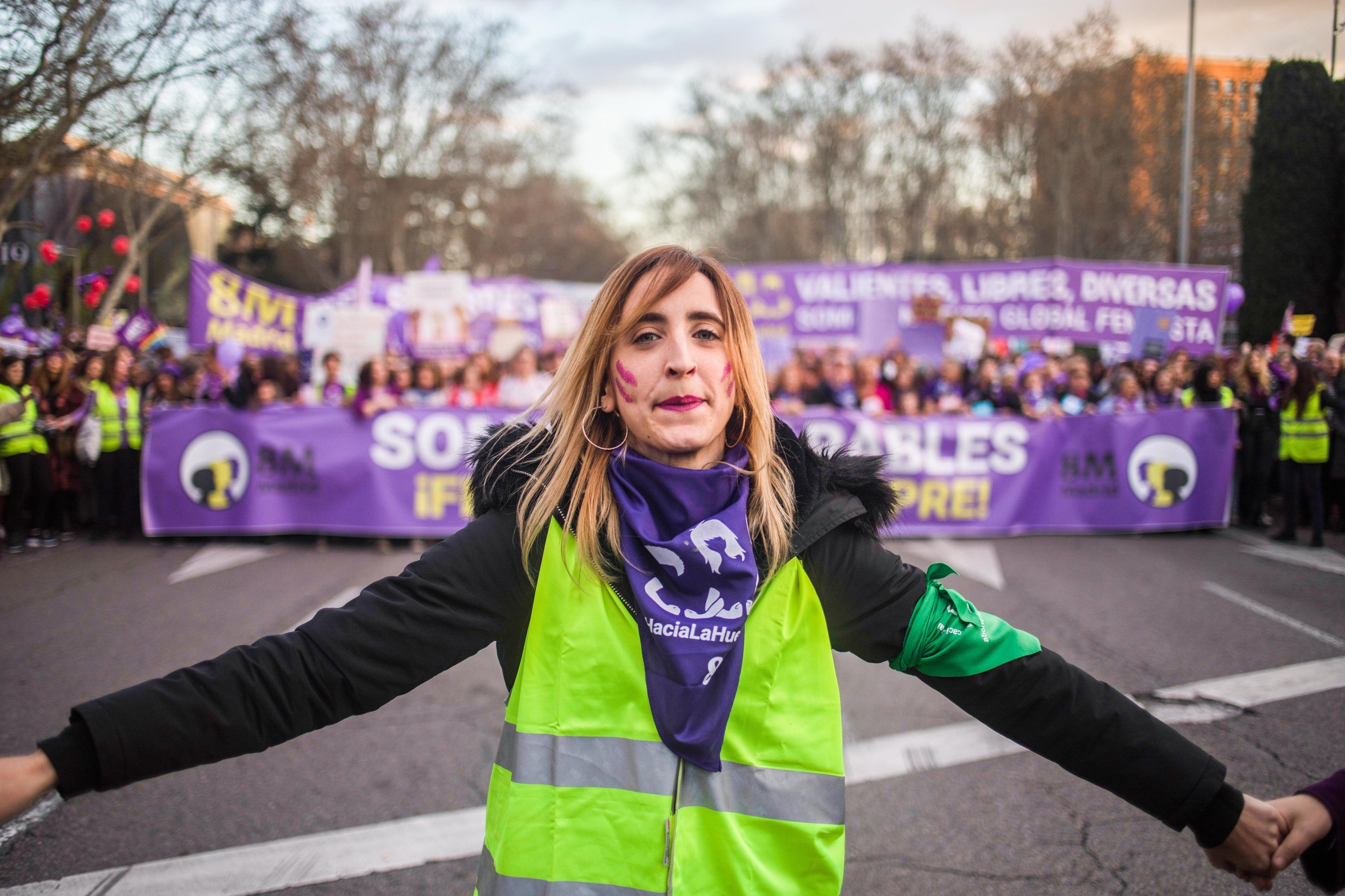 3月8日にスペイン・マドリードで行われたデモの様子