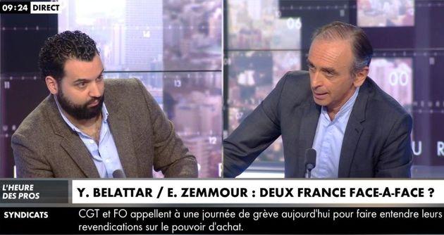 Le débat Belattar-Zemmour sur CNews, un face-à-face à couteaux