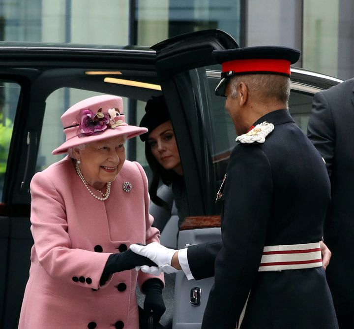 Queen Elizabeth and Catherine, Duchess of Cambridge arrive to open Bush House at King's College in London on Tuesday.