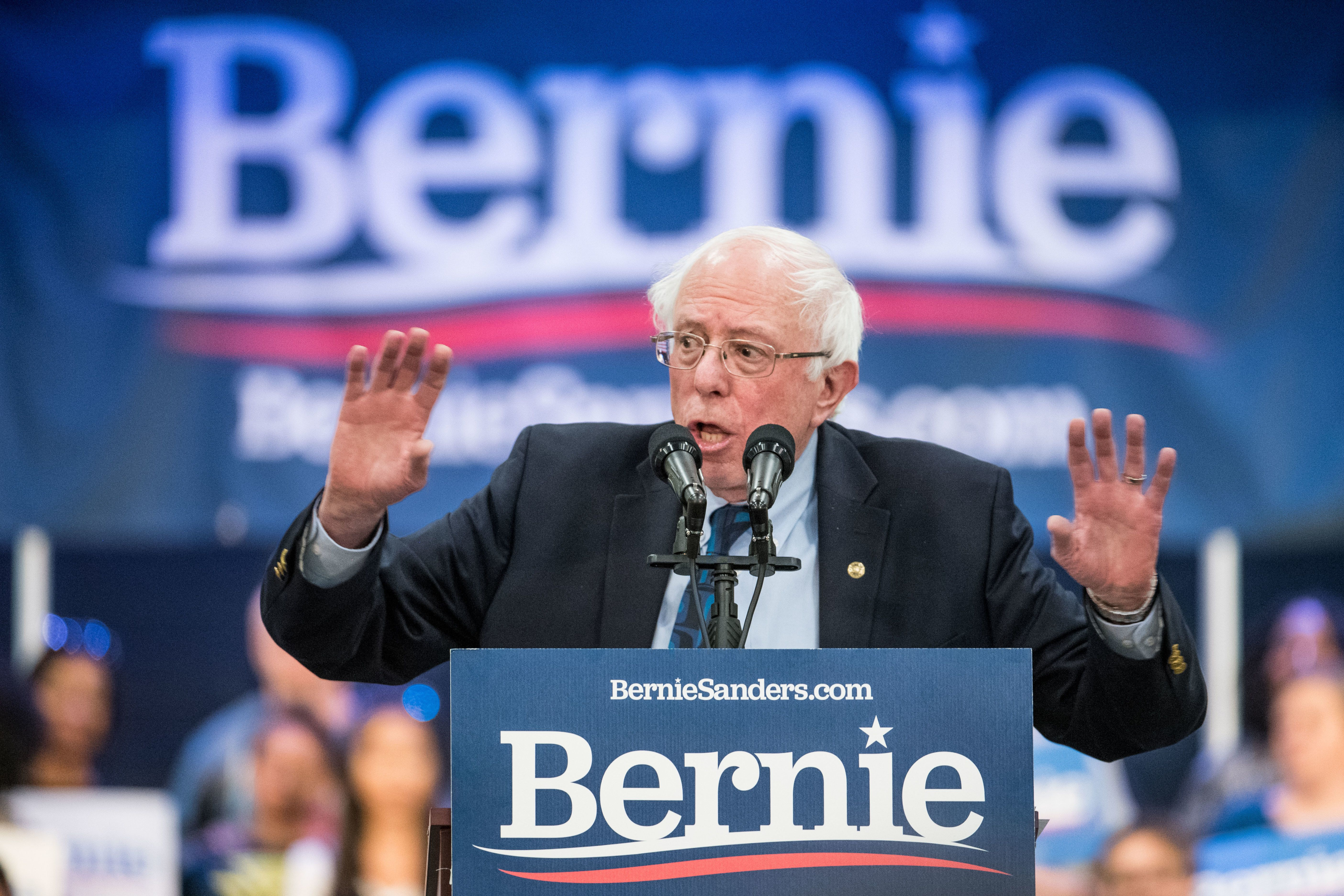 NORTH CHARLESTON, SC - MARCH 14:  2020 Democratic presidential candidate U.S. Sen. Bernie Sanders (I-VT) addresses the crowd at the Royal family Life Center on March 14, 2019 in North Charleston, South Carolina. Sanders received 26 percent of the South Carolina Democratic vote in the 2020 race, eventually losing the nomination to Hillary Clinton. (Photo by Sean Rayford/Getty Images)