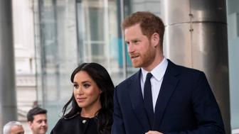 LONDON, ENGLAND - MARCH 19: Prince Harry, Duke of Sussex and Meghan, Duchess of Sussex at New Zealand House on March 19, 2019 in London, England. The visit was following the recent terror attack which saw at least 50 people killed at a Mosque in Christchurch. (Photo by Mark Cuthbert/UK Press via Getty Images)