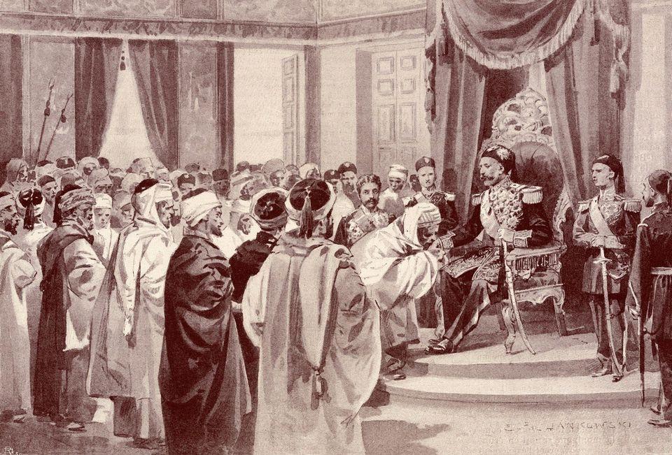 Représentation de Mohamed El Hédi Bey (règne de juin 1902 à mai 1906), recevant...