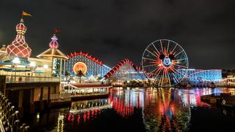 ANAHEIM, CA - JUNE 21: The Pixar Pier at night at Disney California Adventure Park in Anaheim, CA, on Thursday, June 21, 2018. (Photo by Jeff Gritchen/Orange County Register via Getty Images)