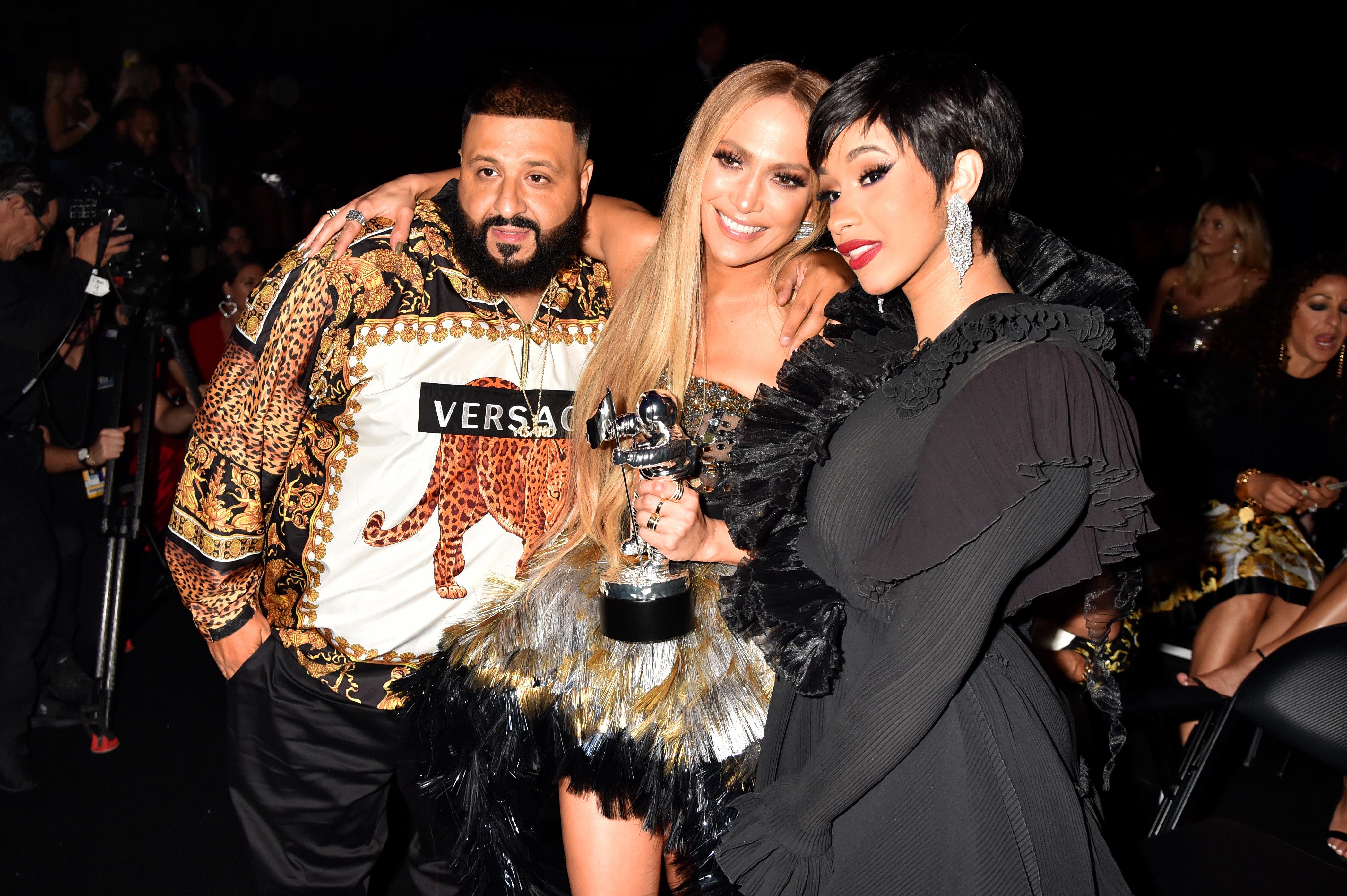 NEW YORK, NY - AUGUST 20:  DJ Khalid, Jennifer Lopez and Cardi B attend the 2018 MTV Video Music Awards at Radio City Music Hall on August 20, 2018 in New York City.  (Photo by Jeff Kravitz/FilmMagic)