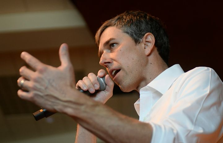 Beto O'Rourke gives a speech during a campaign stop in State College, Pennsylvania, on Tuesday.