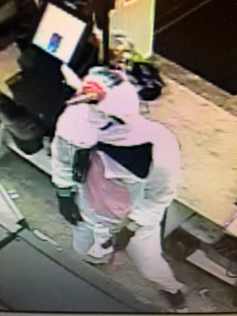 This photo provided by Baltimore County police shows surveillance video of an armed robbery with a  suspect dressed in the unicorn costume.  Baltimore County police have captured Jacob William Rogge, suspected of robbing a convenience store on Saturday, March 17, 2019 dressed in a unicorn costume.  Rogge donned a pink-and-white unicorn costume and smashed a High's Dairy Store register with a crowbar. Police say 27-year-old Joseph Philip Svezzese drove Rogge, who fled with cash and cigarettes.(Baltimore County police via AP)