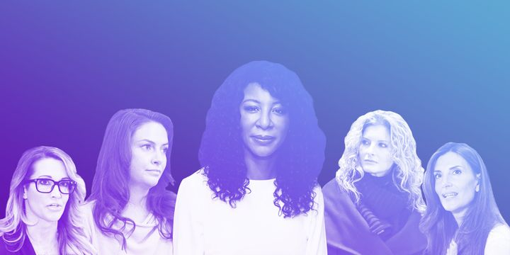 Some of the more than 20 women who have accused President Donald Trump of sexual misconduct and harassment; Alva Johnson in c