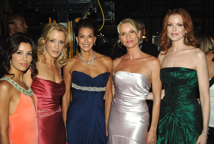 Eva Longoria, Felicity Huffman, Teri Hatcher, Nicolette Sherian and Marcia Cross pictured together at the 57th annual Emmy Aw