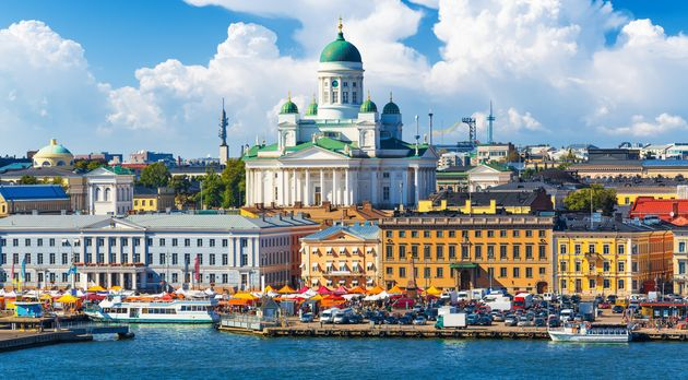 A waterfront view of Finland's capital, Helsinki. The country's strong social safety net is just one...