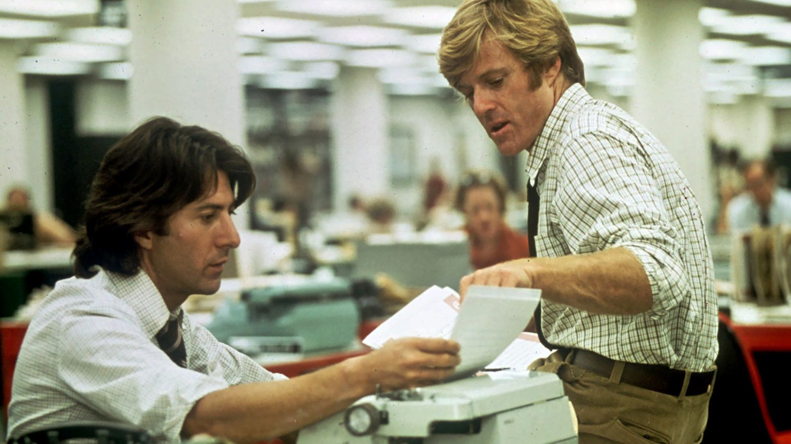 "Dustin Hoffman and Robert Redford in ""All the President's Men"" on Netflix."