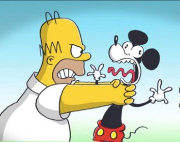 Homer Simpson meets Mickey Mouse