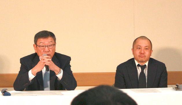 記者会見する東映・代表取締役社長の多田憲之氏と白石和彌監督