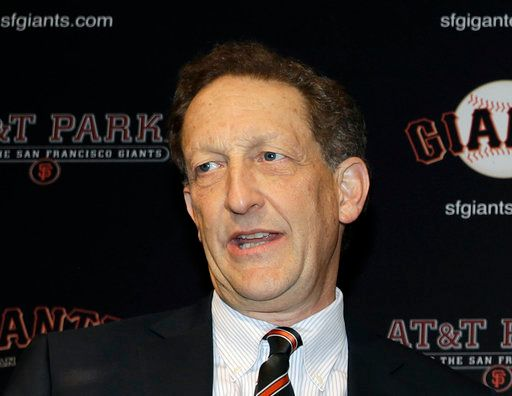 FILE - In this Jan. 19, 2018, file photo, San Francisco Giants President and CEO Larry Baer is shown during a press conference in San Francisco. Baer will not face charges following a physical altercation with his wife earlier in March 2019 that led to him taking a leave of absence from the team. (AP Photo/Marcio Jose Sanchez, File)
