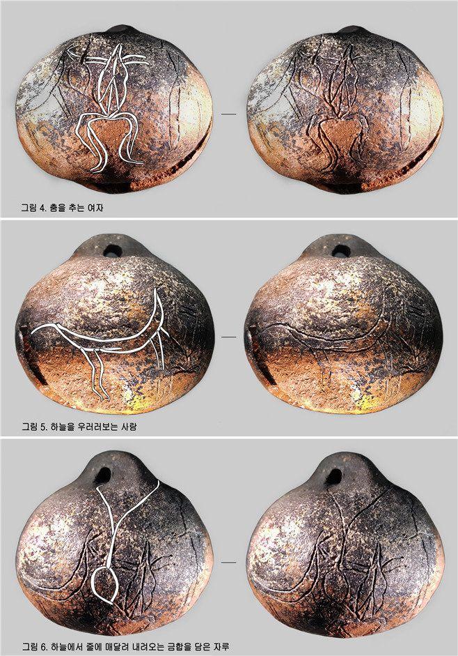 대가야의 토제 구슬에 새겨진 미지의 그림들. 고령 지산동 대가야 고분군의 작은 석곽묘에서 나온 것이다. 모두 6종이 그려졌는데, 유물을 발굴한 대동문화재연구원은 가야건국신화와 <구지가>의 제의적 이야기를 풀어낸 그림이라고 주장하고 있다.