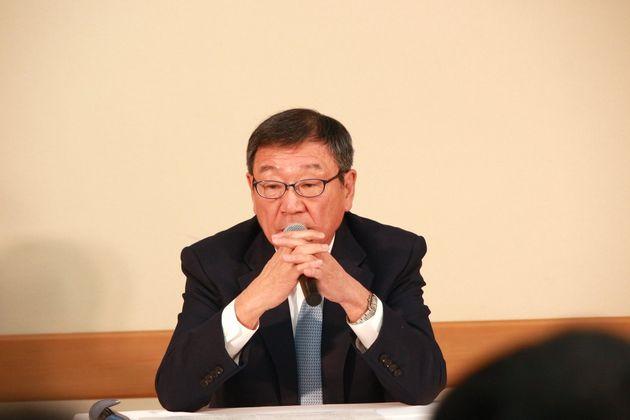 記者会見する東映・代表取締役社長の多田憲之氏