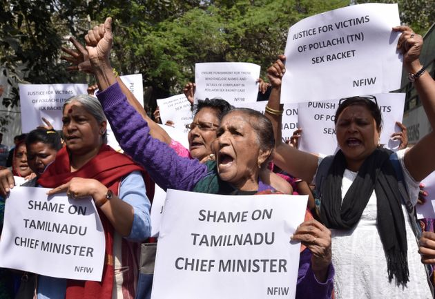National Federation of Indian Women members stage a protest against the Pollachi case, at Tamil Nadu...
