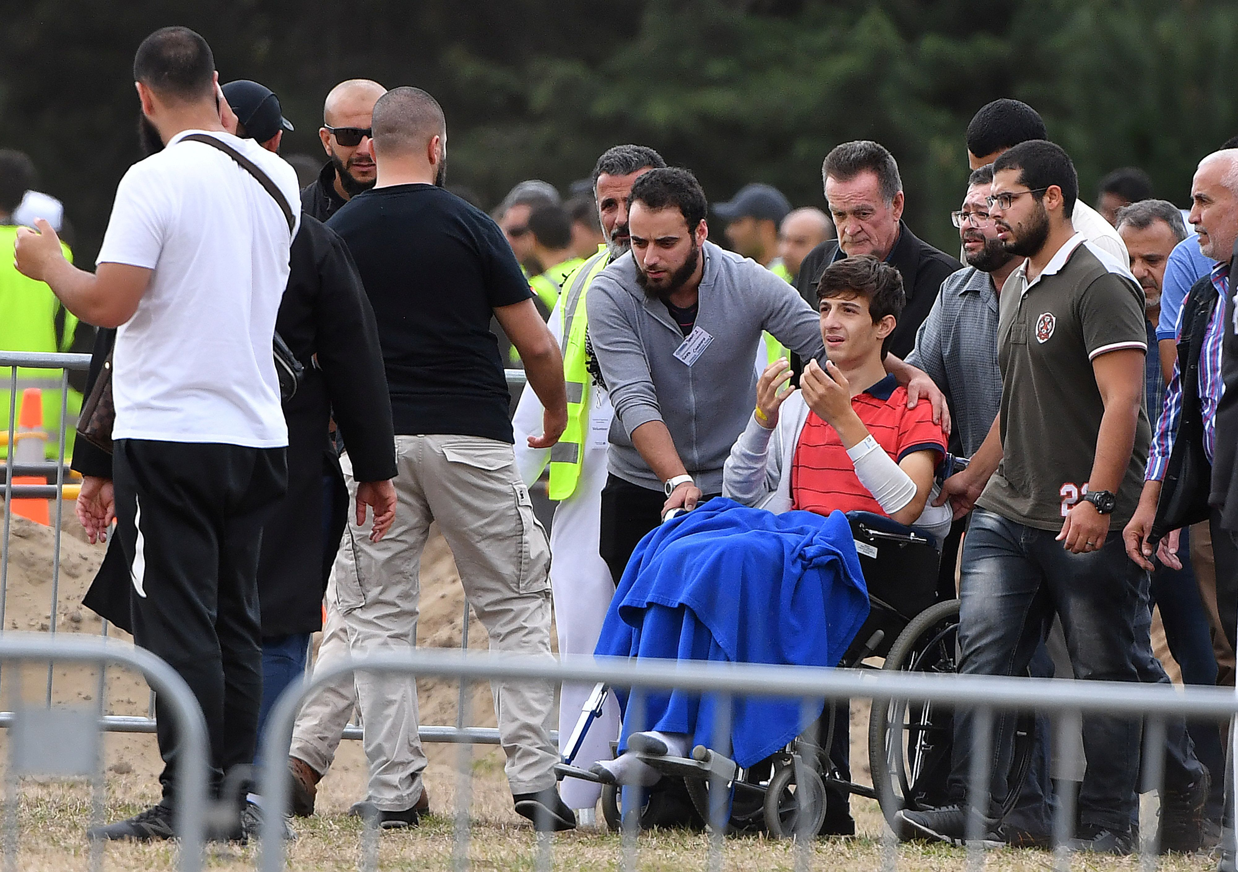 Zaid Mustafa son and brother of mosque victims Khaled and Hamza Mustafa leaves after their