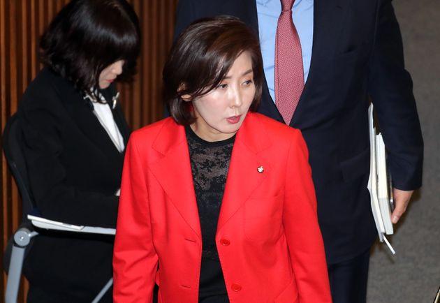 윤소하 정의당 원내대표 연설 도중 자유한국당 의원들이