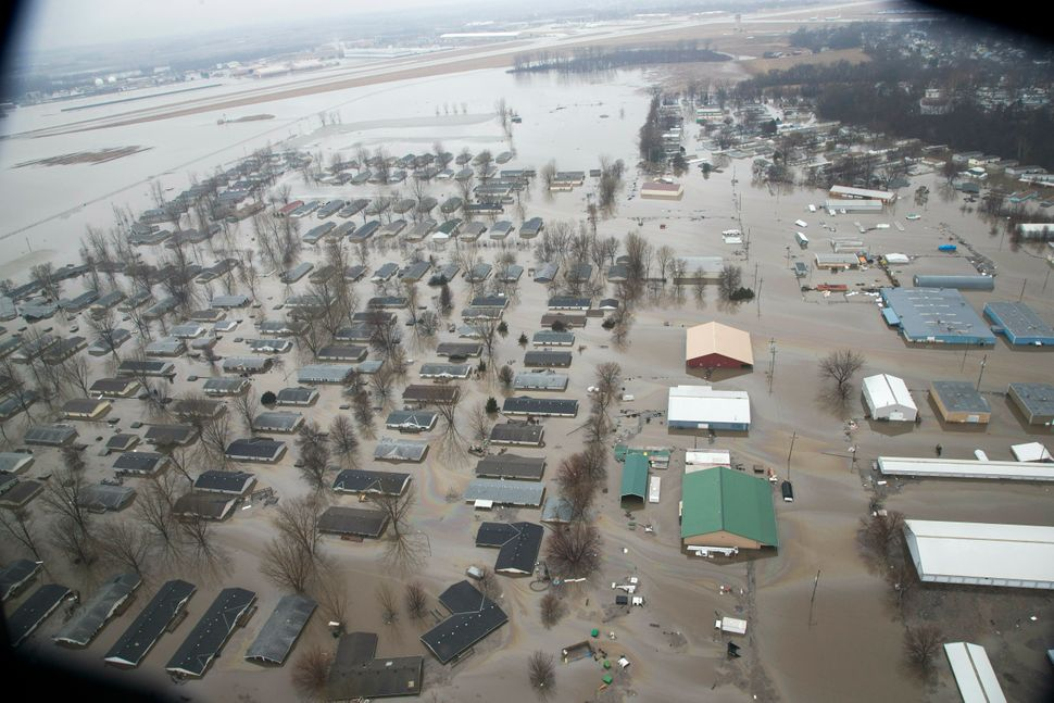 A neighborhood in Bellevue, Nebraska, is flooded by waters from the Missouri River.