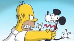 Homer Simpson Meets Mickey Mouse, And It Goes Just As Well As You'd