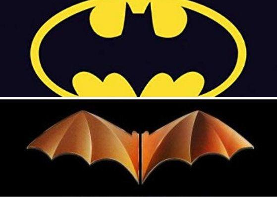 Logo de Batman (arriba), imagen del centenario del Valencia C.F